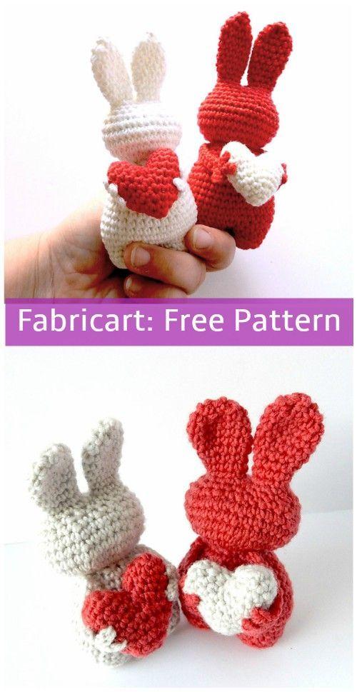 Crochet Valentine Heart Bunny Toy Free Pattern #CrochetValentines ...