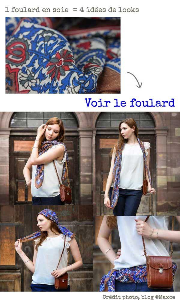Découvrez comment nouer un foulard selon la blogueuse Maxce. Ces conseils de  mode et des idées de looks fashion autour du foulard en soie. 88f3038a395