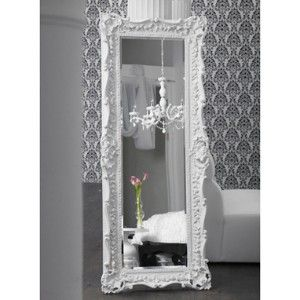 Ruffle edge floor mirror high gloss white for my for Floor mirror white frame