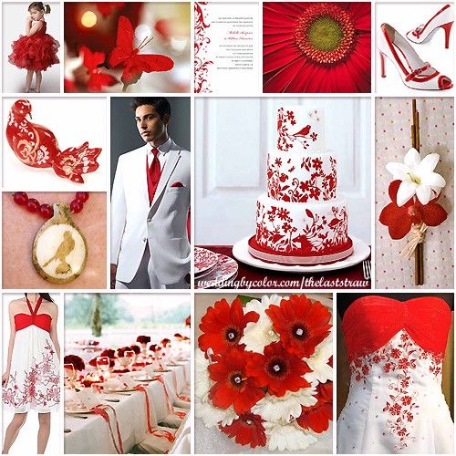 Red And White Color Wedding Scheme