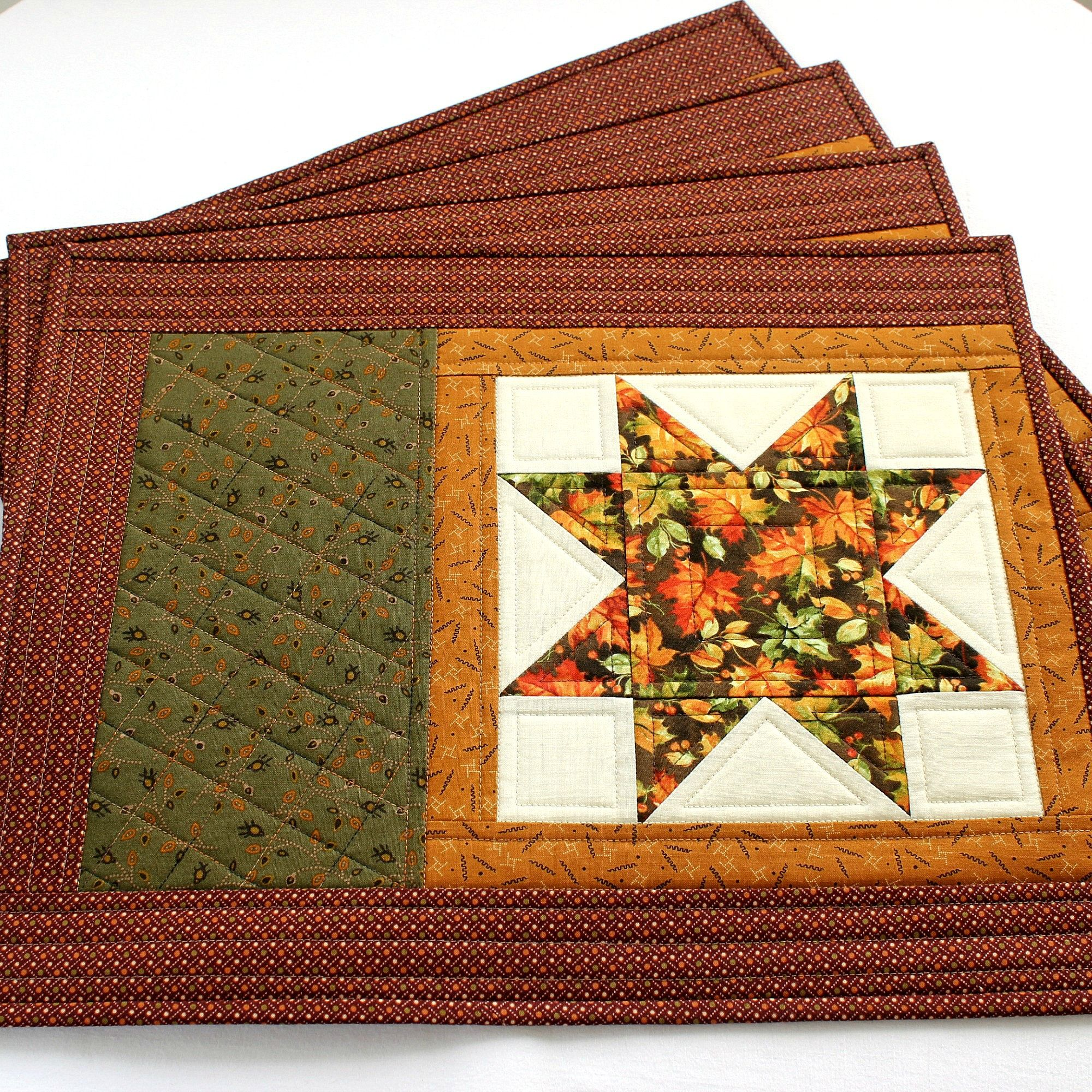 Quilted Fall Placemats Set of 2 or 4 Table Mats Etsy in