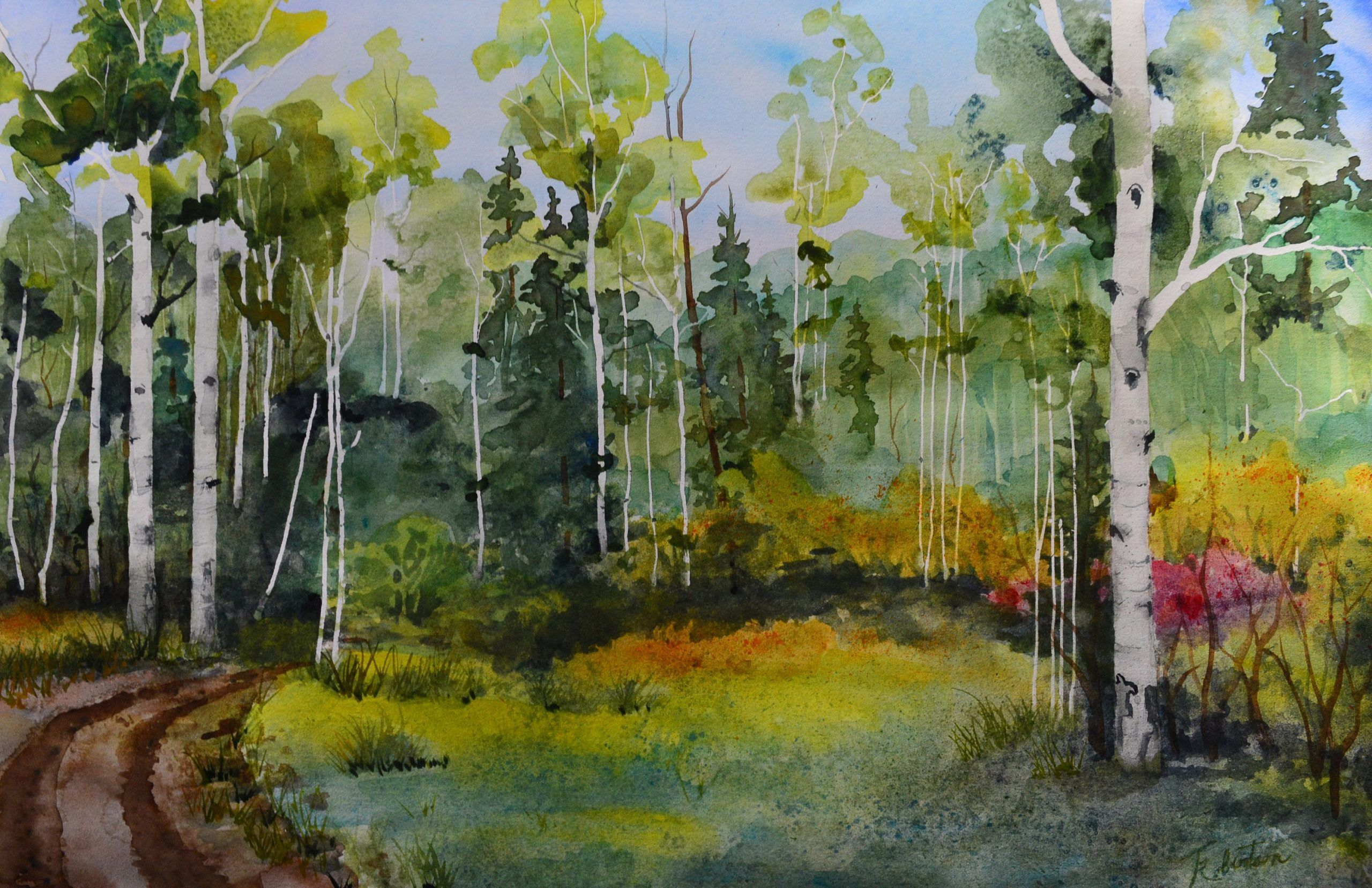 Watercolor Painting Original Aspen Tree Forest Art Colorado