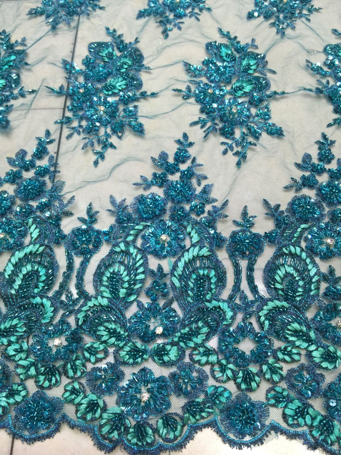 Wedding Lace 3D Lace Fabric  Bright Blue color Lace Fabric embroidered lace Blue Lace for high fashion handmade pearl beaded
