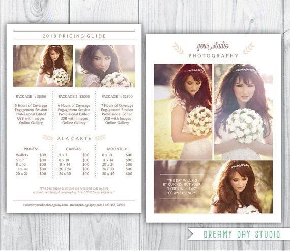 photography pricing template   wedding photographer pricing - price sheet template