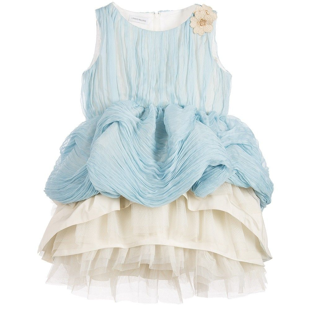 I Pinco Pallino Girls Blue Pleated Silk & Tulle Dress at Childrensalon.com