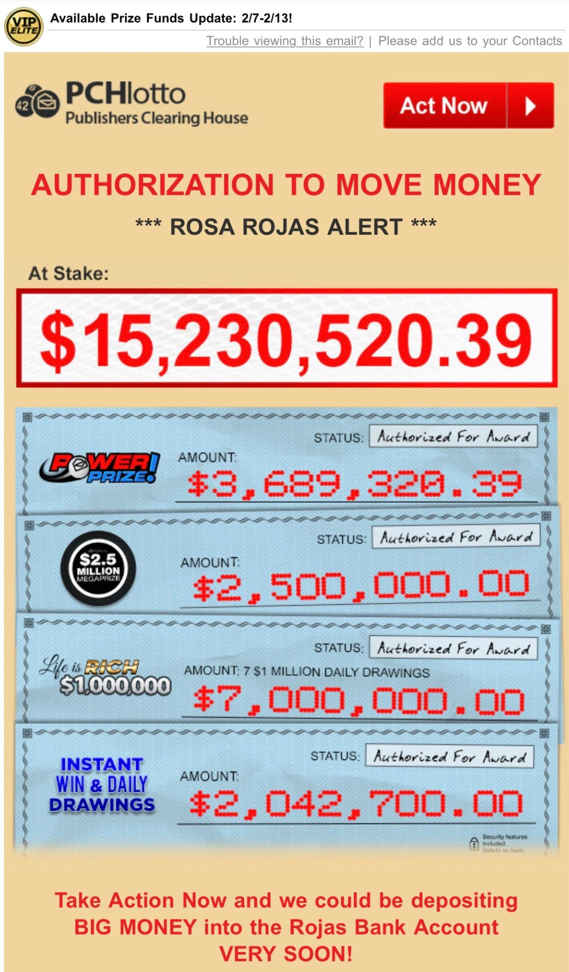 PCH LOTTO ACTNOW AUTHORIZATION TO MOVE MONEY ALERT I ROSA ROJAS