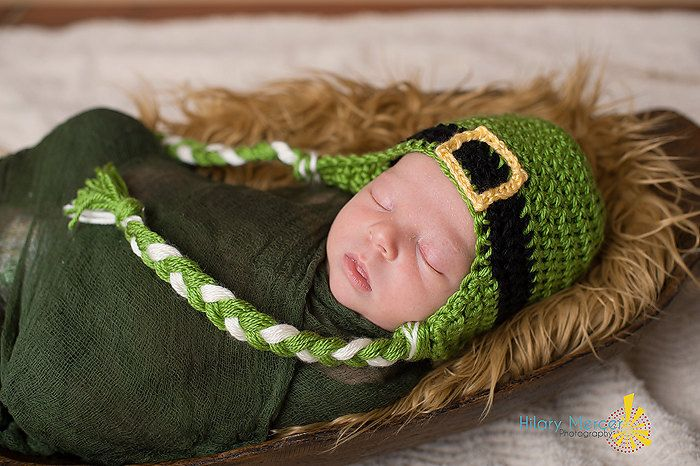 St. Patrick's Day Baby Hat with Ear Flap - Green Crochet ...