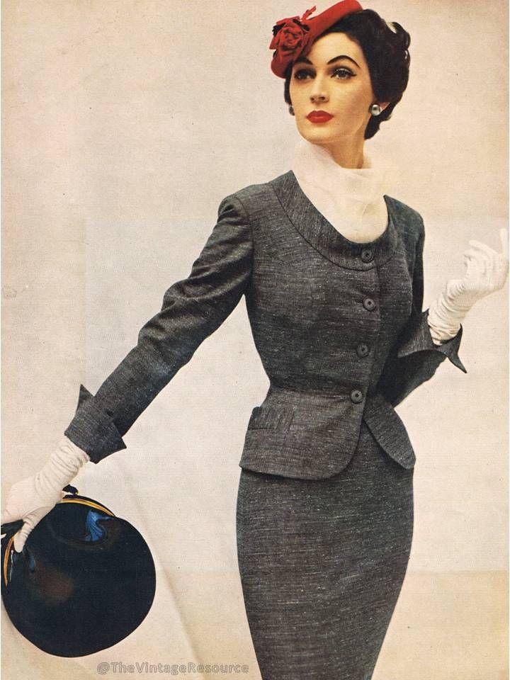0d24e91449b 50s grey suit jacket skirt color photo print ad model magazine hat purse wasp  waist Dovima 1954