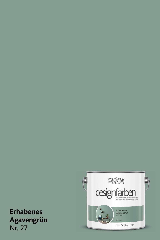 Designfarbe Erhabenes Agavengrun Nr 27 Agavengrun Designfarbe Erhabenes Ohnedachgestalten In 2020 Schoner Wohnen Farbe Schoner Wohnen Wandfarbe Wandfarbe Grun