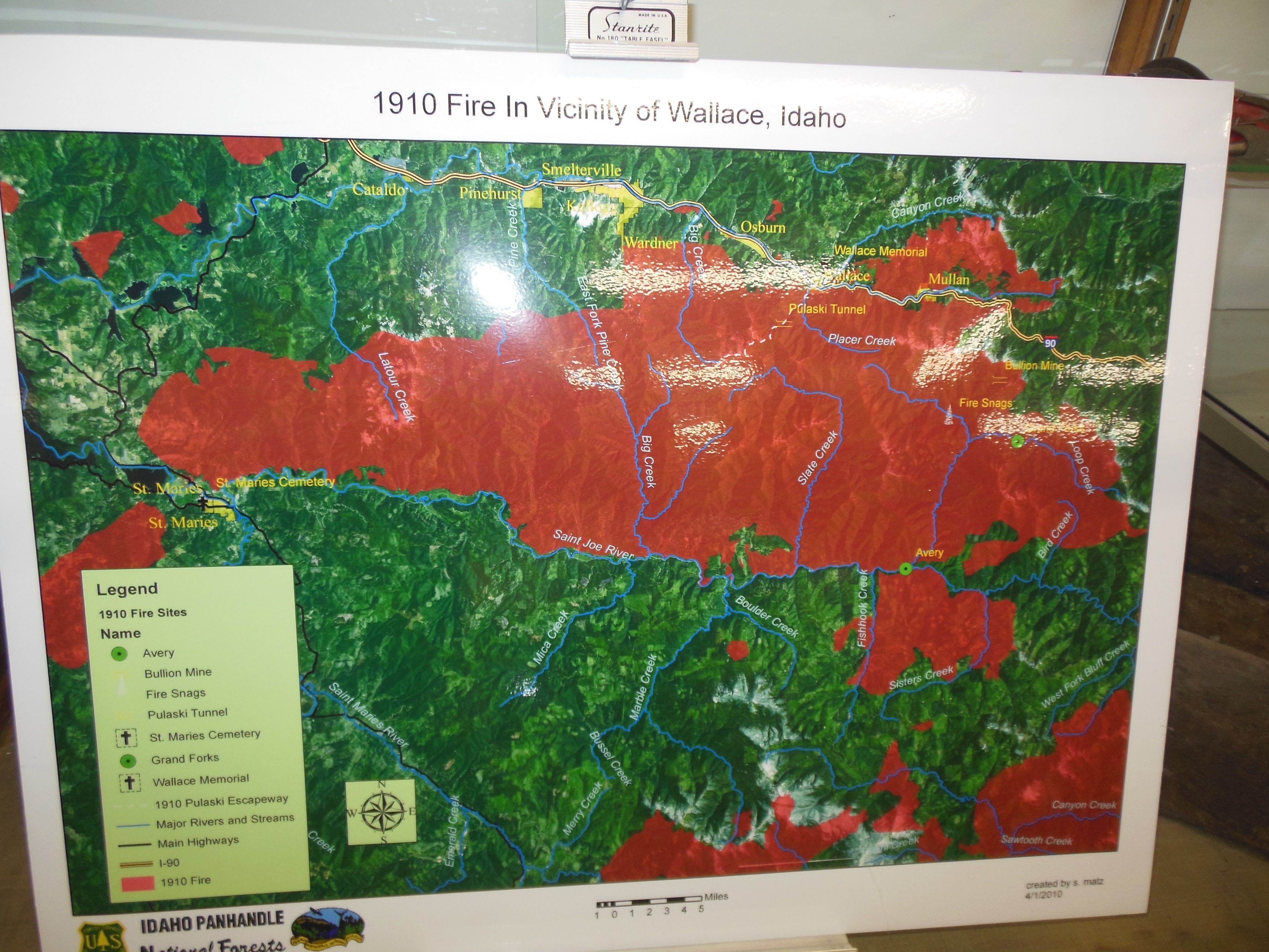 Map Showing The Extent Of The 1910 Fire Wallace District Mining