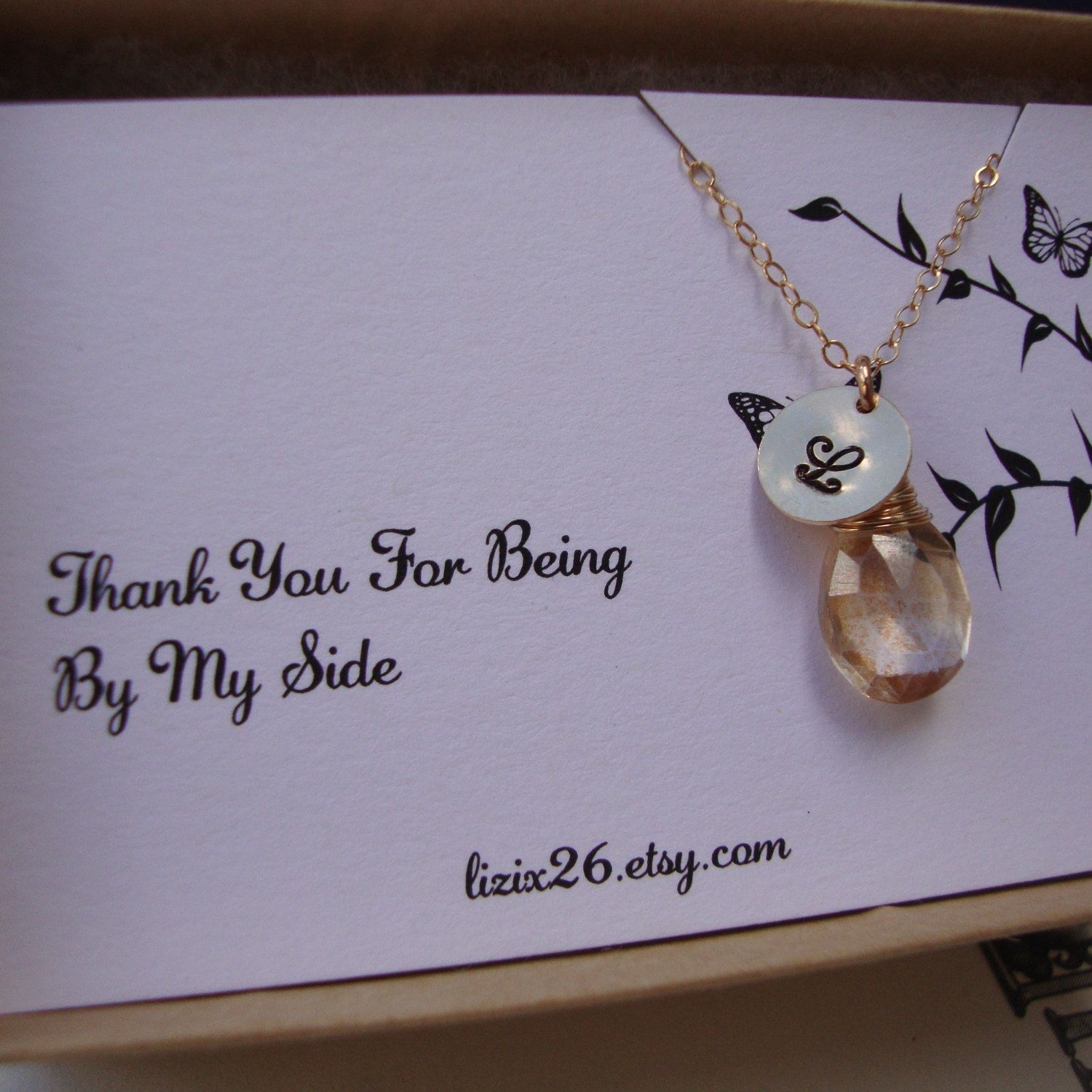 bridesmaids thank you cards  personalized necklace