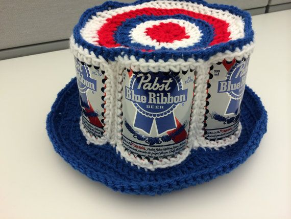 f86729a0d67 Crochet PEPSI Soda Pop CAN Hat Vintage 1970 s USA Patriotic Bucket Style  70 s Collectible Aluminum Beer Can
