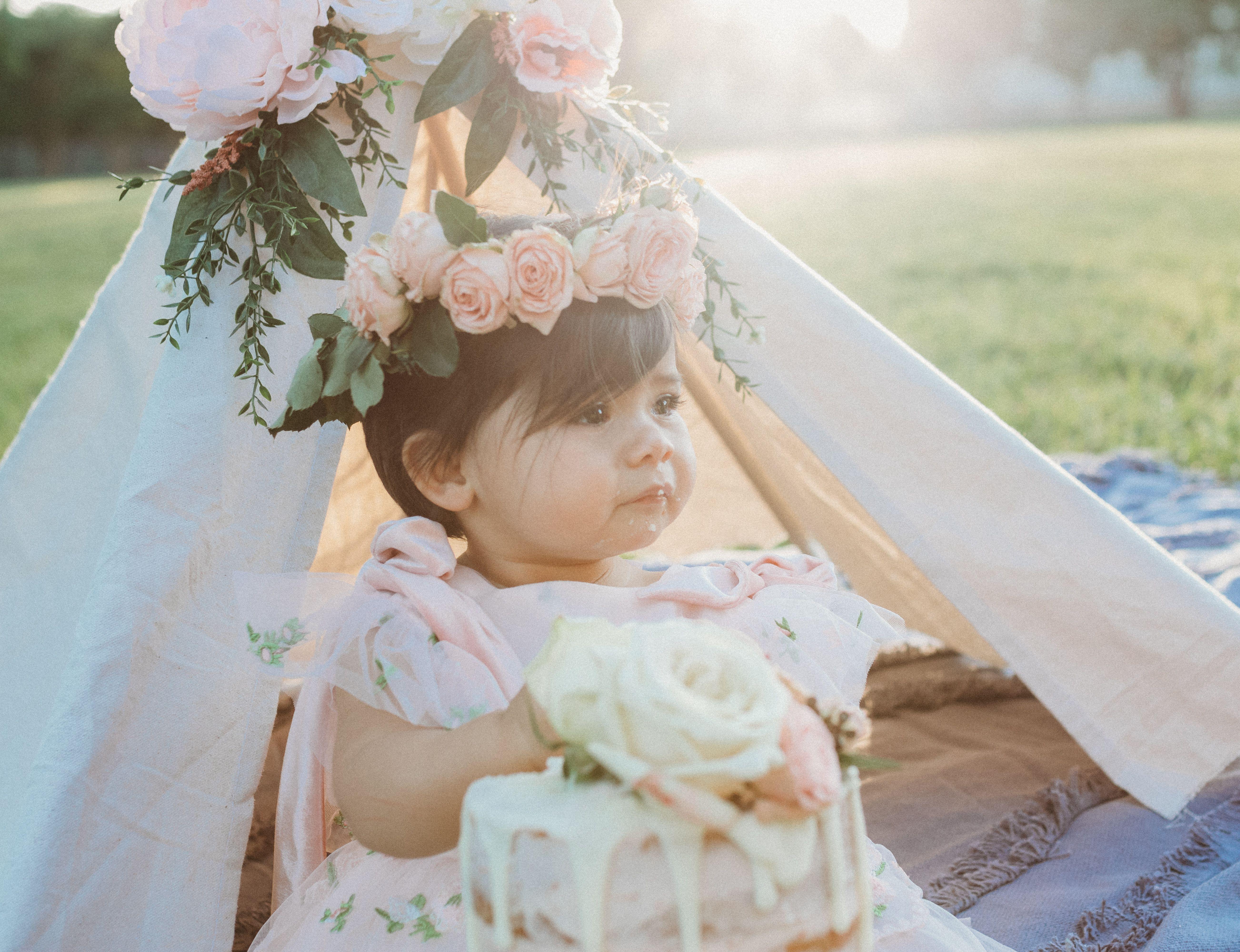 Baby girl boho inspired cake smash in austin texas fresh