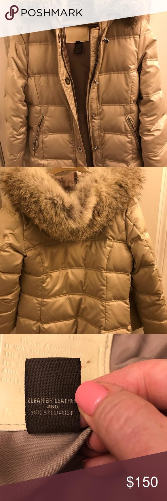 Coach Winter Coat With Fur Hood Sz M Beautiful Tan Fur Hood Coat Winter Coat [ 1740 x 580 Pixel ]