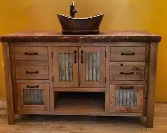 Rustic Upper Cabinet Reclaimed Barn Wood W Tin Doors Unfinished