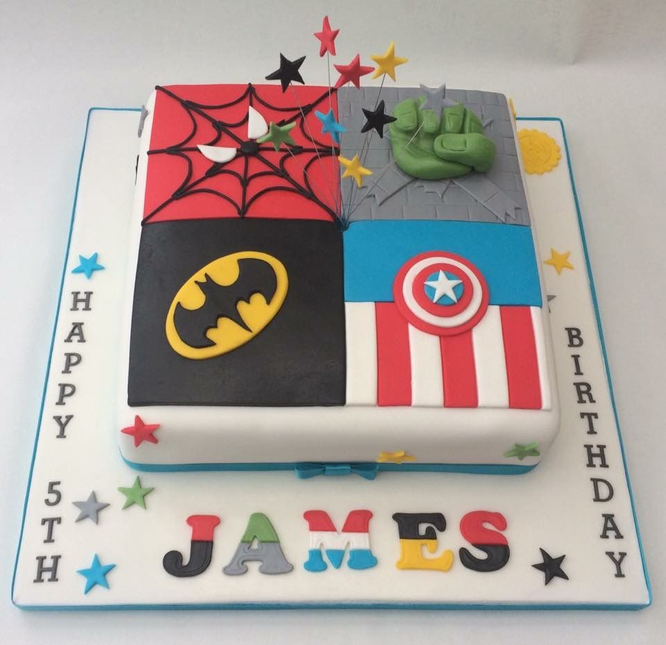 A Marvel themed cake for birthday boy featuring all his favourites