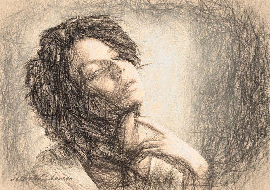 Zamyślenie | Szkic, Rysunek, Obrazy