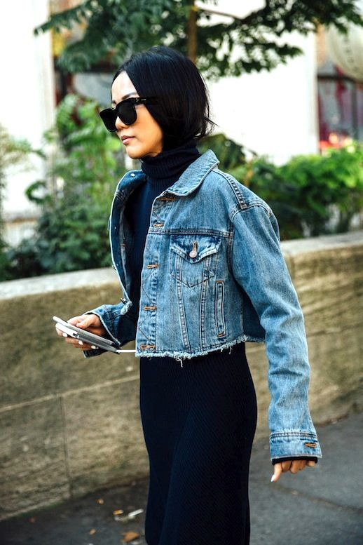 cropped denim jacket outfit ideas