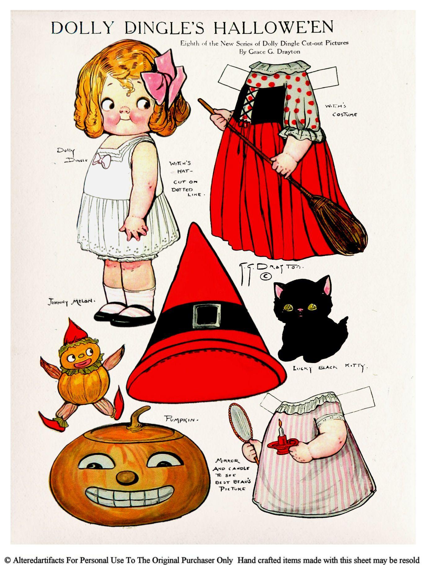 vintage halloween paper dolls - Google Search | Halloween Dolls ...