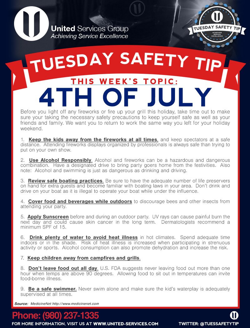 This week's Tuesday Safety Tip is about the Fourth of July