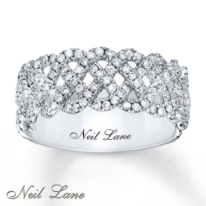 Three interwoven ribbons of diamonds create a brilliant lacy effect in this lovely ring from the Neil Lane Designs® collection. Fashioned in 14K white gold, the ring has a total diamond weight of 3/4 carat. Diamond Total Carat Weight may range from .69 - .82 carats.