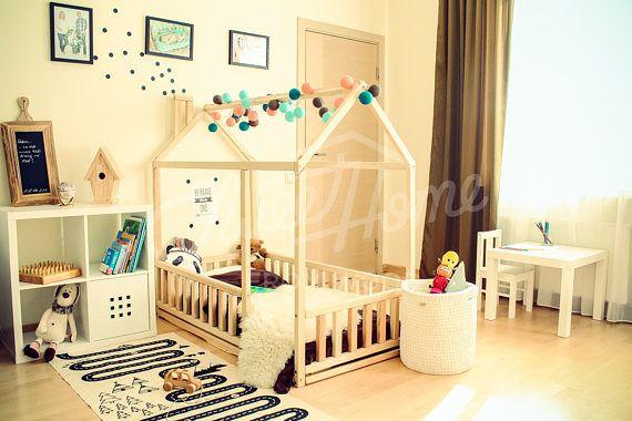 Children bed CRIB SIZE, solid wood bed, toddler bed, frame bed ...