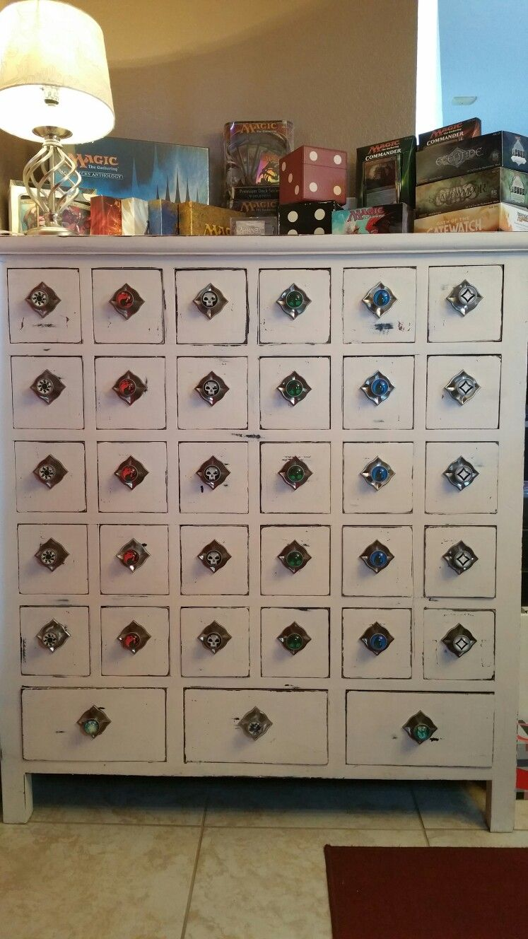 I Turned An Old Apothecary Cabinet Into Mtg Storage A Great Way To Keep Those