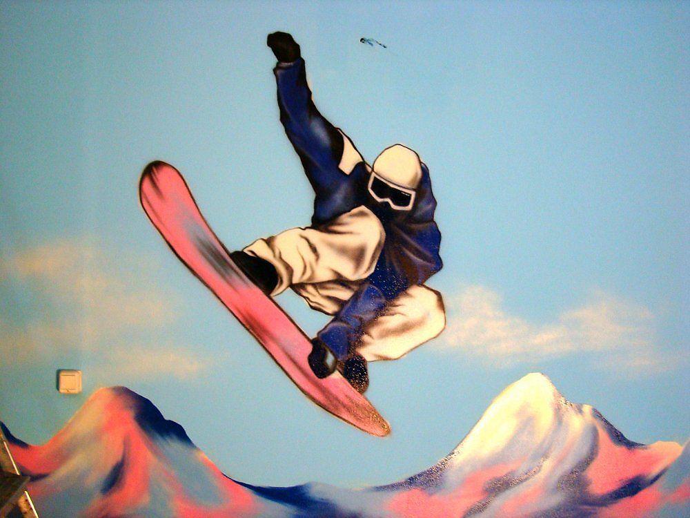рисунок сноубордиста в горах после отсидки надеятся