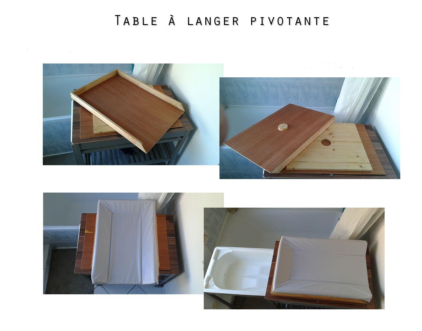 Table à langer pivotante, afin de faciliter le déplacement