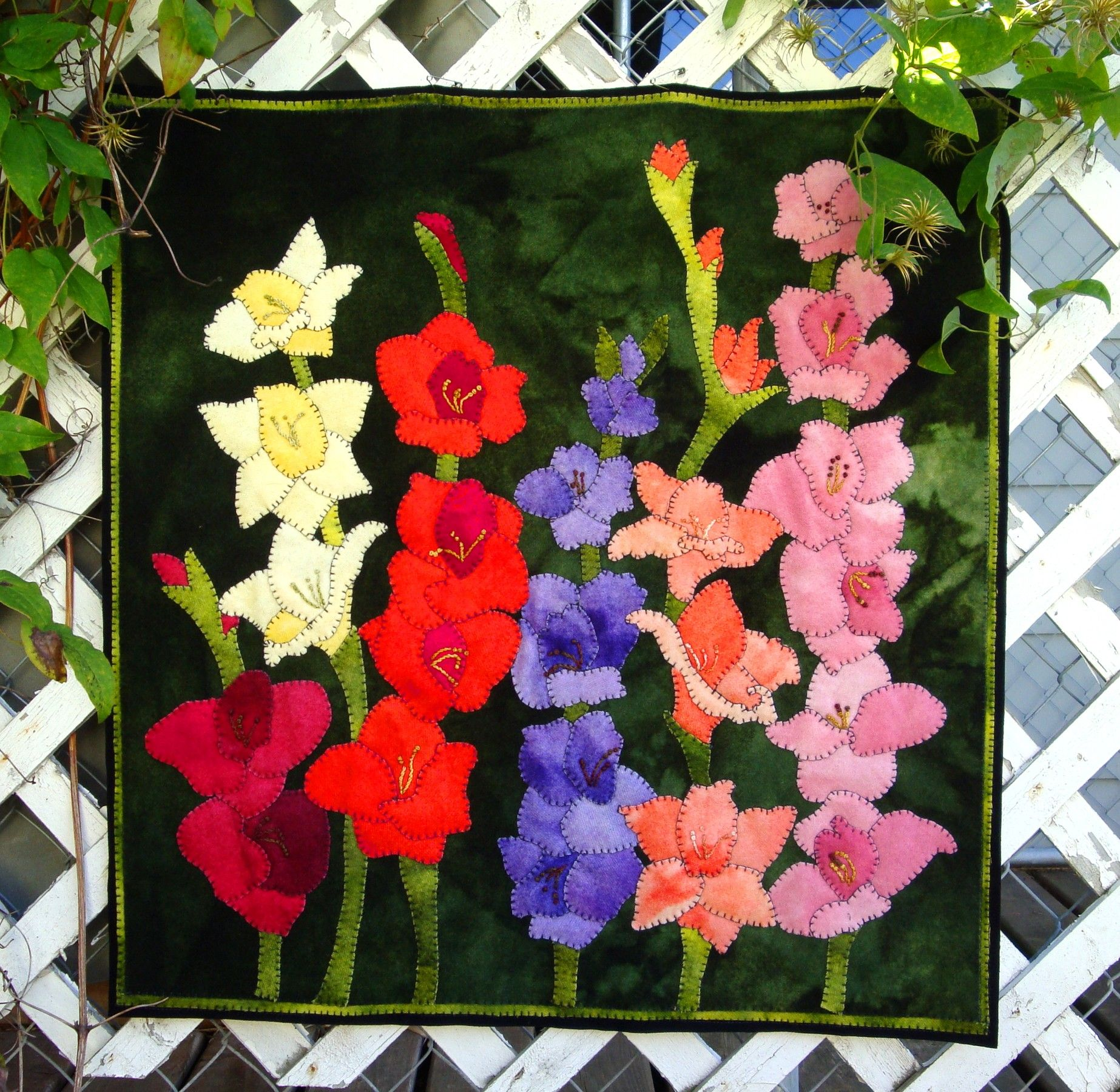 Glad Garden Wool Applique Wall Hanging By The Wooly Lady