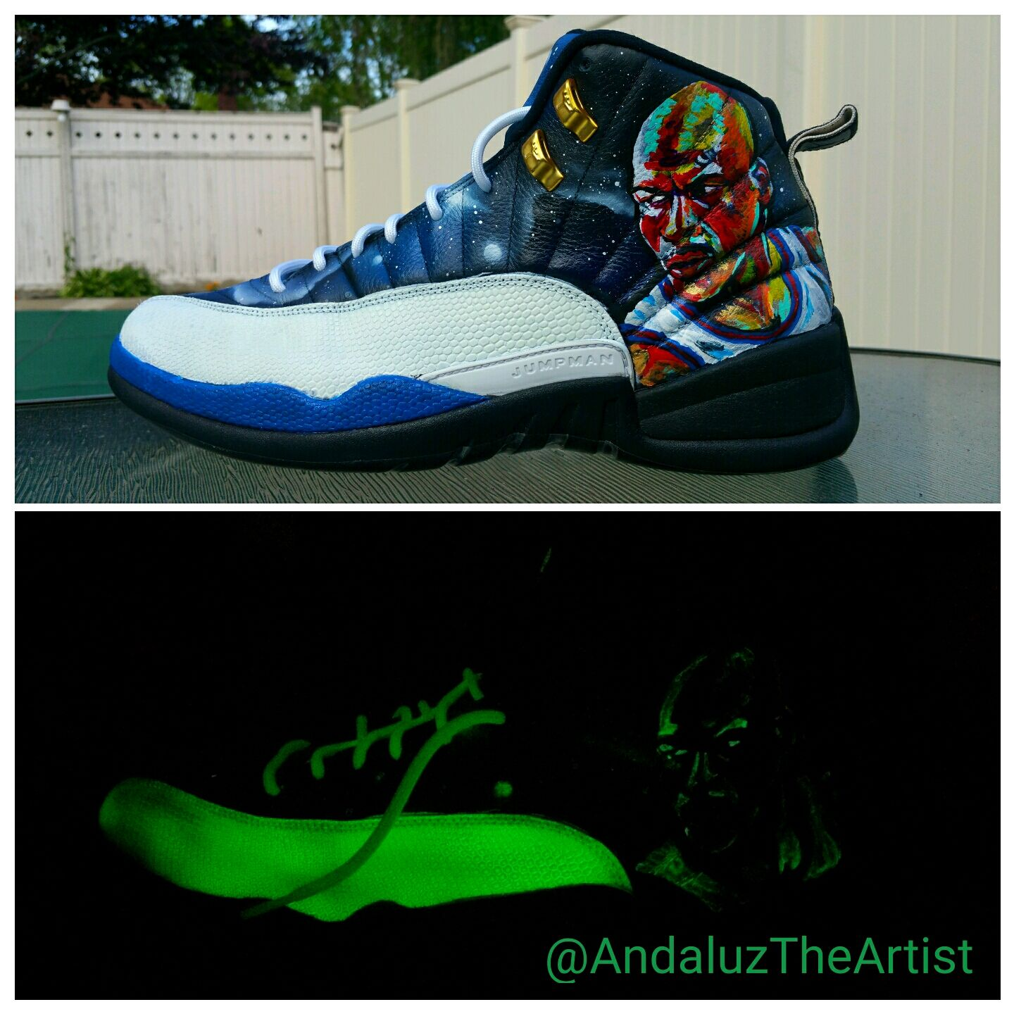 Glow in the dark Jordans with Michael Jordan Portrait on it them. By  Andaluz the