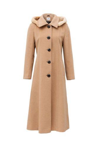 4458529d6 Details about Womens Fur Collar Coat Waist Winter Cashmere Wool ...