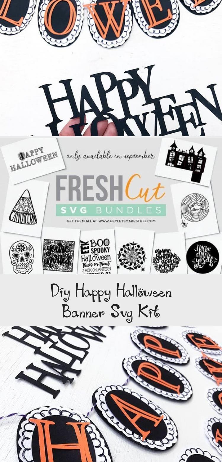 DIY Happy Halloween Banner SVG Kit - 100 Directions #bannerTumblr #bannerPasoAPaso #bannerMinecraft #Churchbanner #Salebanner #happyhalloweenschriftzug