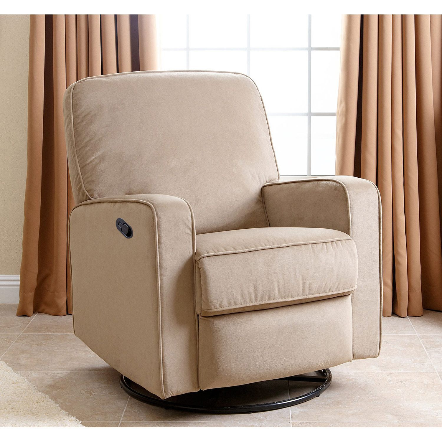 Swivel Glider Recliner Rocking Chair Nursery Upholstery Beige Fabric Living  Room