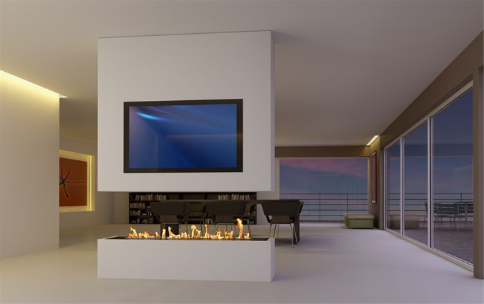 Contemporary Floating Fire In White Block Wall In The Middle Of A Living Room Fireplace Tv Wall Contemporary Fireplace Designs Bioethanol Fireplace #tv #in #middle #of #living #room