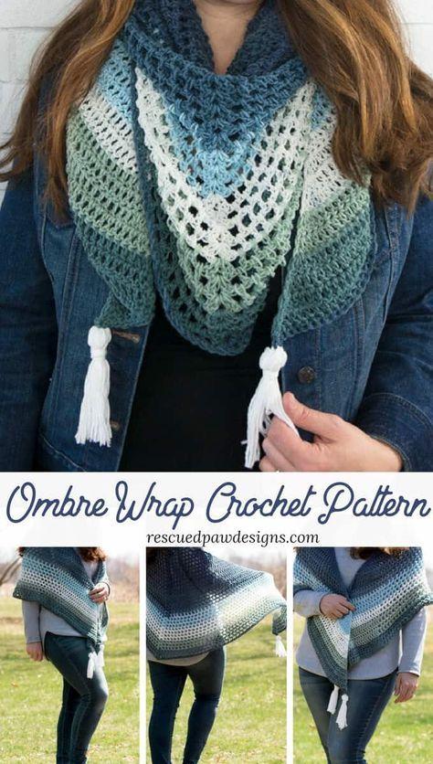 Crochet Triangle Wrap Pattern - Easy Crochet Shawl Pattern | crochet ...