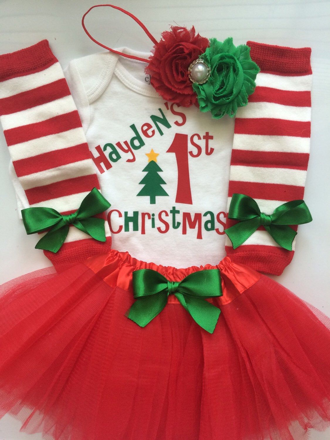 5a7773eb5 Baby Girl 1st Christmas outfit - Newborn and 3 month My first Christmas  Outfit- 4