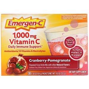 Emergen C فيتامين سي توت بري رمان 1 000 مجم 30 كيس ا 0 30 أونصة 8 4 جم لكل كيس Vitamins Best Multivitamin Pomegranate