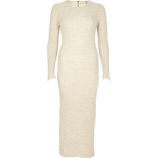 Long sleeve cream knit dress
