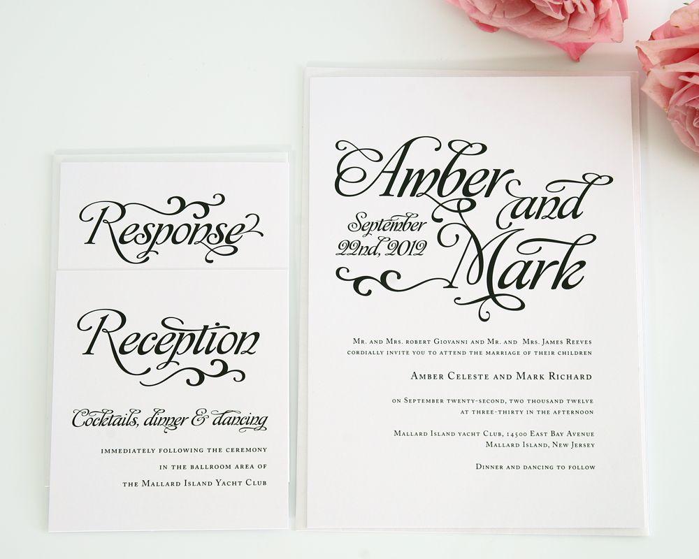 Alluring Script Wedding Invitations | Wedding invitation sets ...