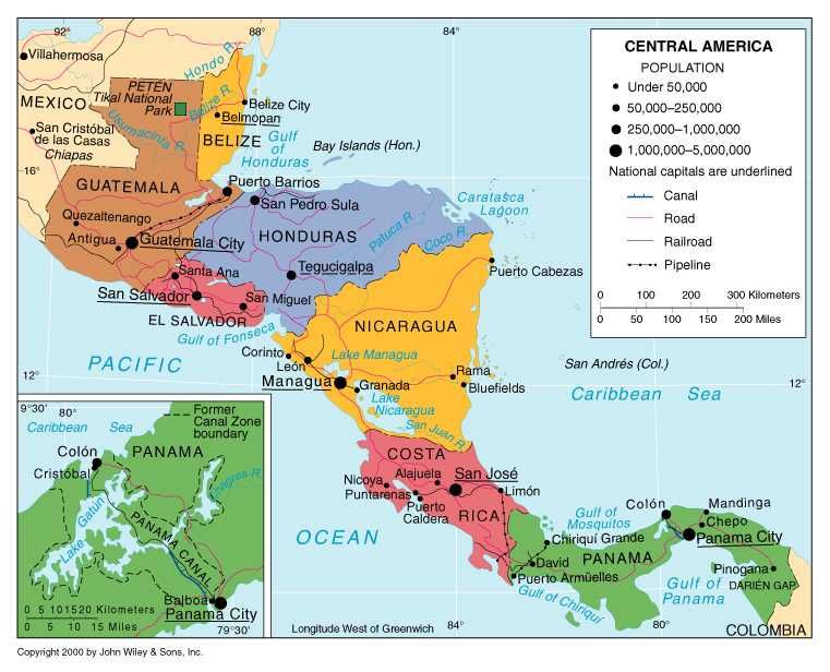 Map of Mexico and Central America | Map of the region ...
