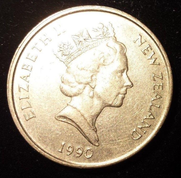 New Zealand 2 Dollars 1990 Queen Elizabeth II / White Heron