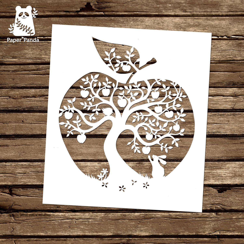 Paper panda papercut diy design template apple tree paper paper panda papercut diy design template apple maxwellsz