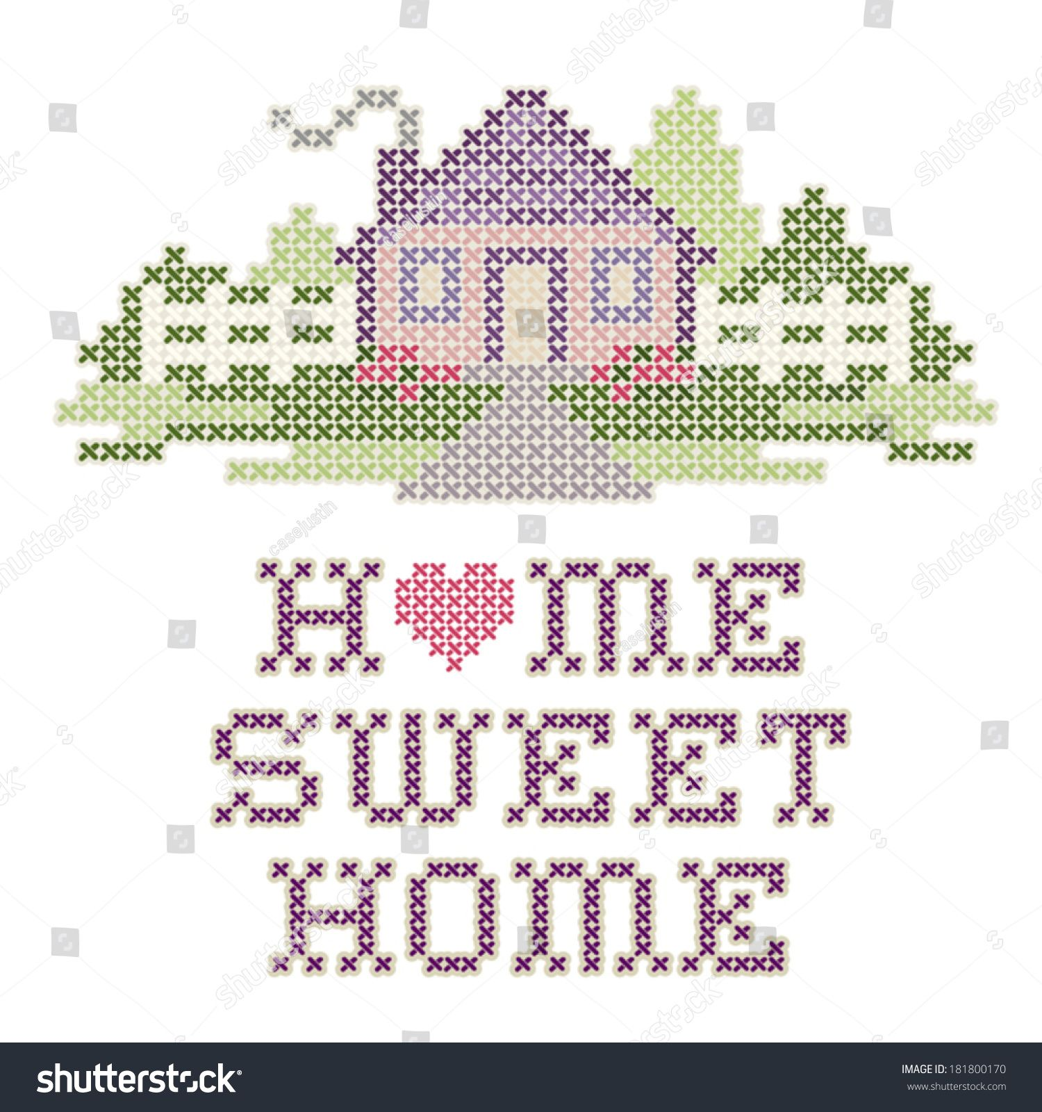 Home Sweet Home Embroidery, Cross Stitch design in pastel colors ...