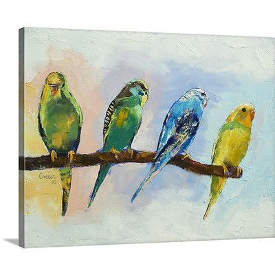 """Canvas On Demand Four Parakeets by Michael Creese Painting Print on Canvas Size: 24"""" H x 30"""" W x 1.25"""" D"""