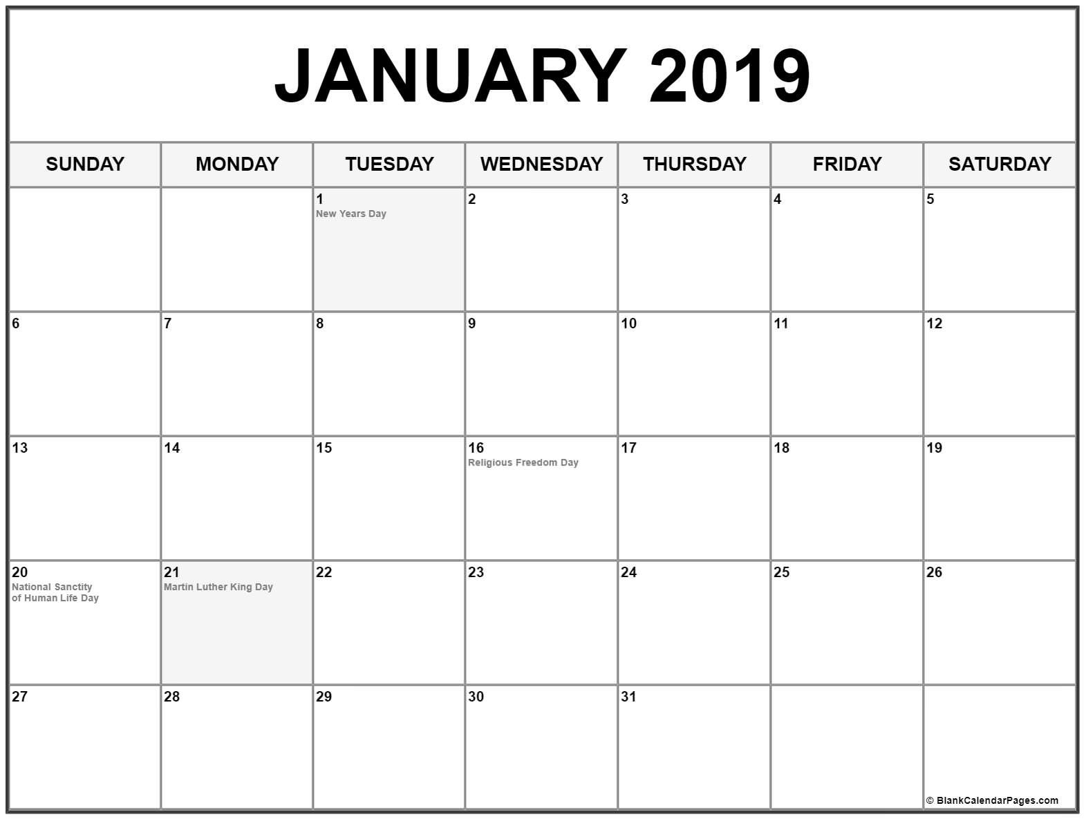 January 2019 Calendar With Holidays Calendar Printables January