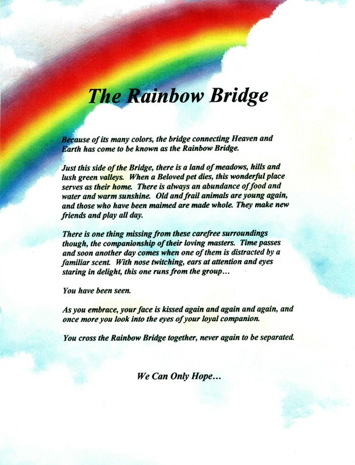 Rainbow Bridge Poem Printable | www.imgkid.com - The Image ... Rainbow Bridge