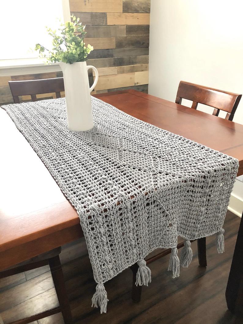 Sharon Table Runner Tunisian Crochet Pattern Crochet Etsy In 2020 Crochet Table Runner Pattern Tunisian Crochet Crochet Table Runner