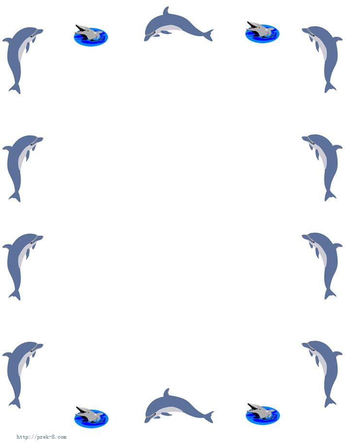 Dolphins Writing paper, stationery, free printable kids letterhead - printable writing paper with border
