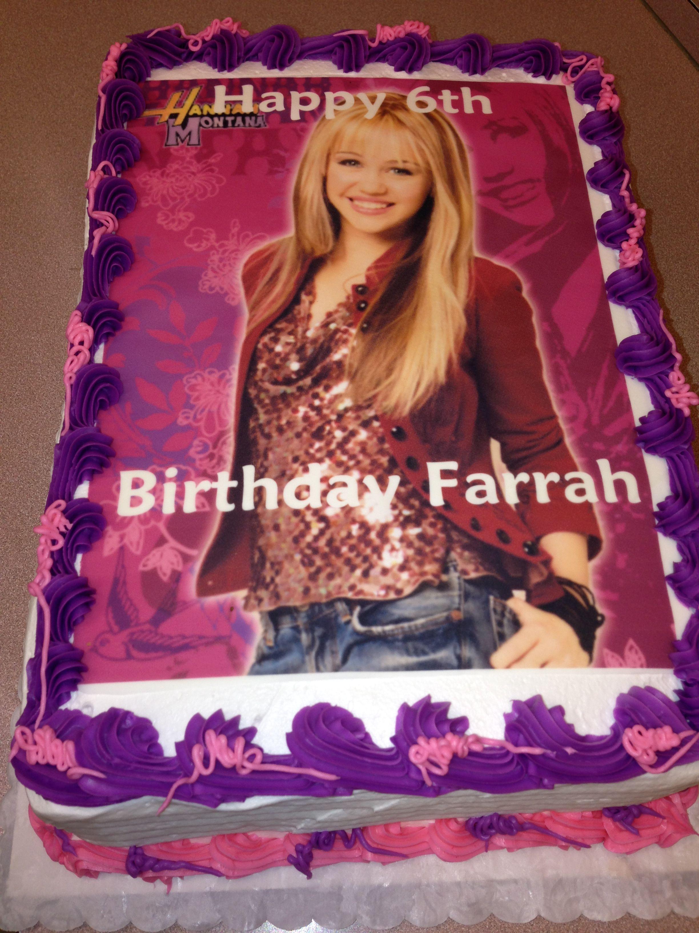 Awe Inspiring 1 4 Sheet Cake With Edible Image Of Hannah Montana Edible Images Birthday Cards Printable Inklcafe Filternl